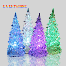 Christmas Decoration LED Night Light,Glass Crystal Christmas tree Night Lamp, Halloween Gifts Seven Color Changing SD7(China)