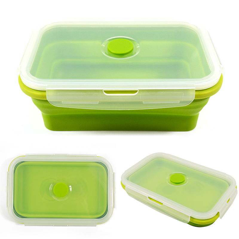 Folding Silicone Lunch Box Food Storage Container Kitchen Microwave Tableware Portable Household Outdoor Food Fruit Organizer 2