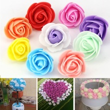 30PCS New 7 Color For Wedding Car Decoration PE Foam Valentine's  Day DIY Wreath Fake Artificial Rose Flowers Wedding Party