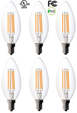6-pack Filament Candelabra Clear LED Bulbs, E12 Base, C37 High Efficiency, 360 LED Candle Bulbs, Pack of 6(China)