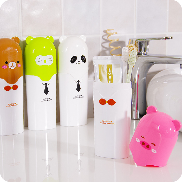Portable Toothbrush Holder Cartoon Toothpaste Storage Box Travel Tube Case Plastic Storage Box Multifunction Candy Color(China (Mainland))