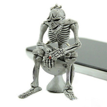 New Arrival 1X Unisex Creative Chic Toilet Skeleton Skull Purse Bag Key Ring Keychain Jewelry Pendant Funny Gifts(China)