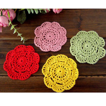 Retro 10cm Round Crochet Coasters Handmade Table Mat Mori Doilies Cup Pad shooting props Flower Lampshade 20pcs Wholesale
