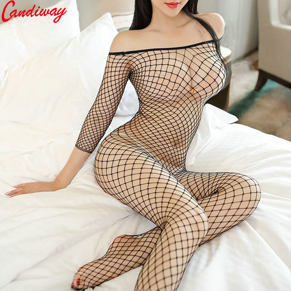 Candiway Sexy Lingerie Fishnet Bodystockings Erotic Temptation Clothing Big Netting Hole Bodysuit Transparent underwear costumes(China)