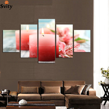 5panels Artist Canvas Still Life painting Colorful flowers candle Canvas Prints Wall Pictures for Living Room Picture decor A120