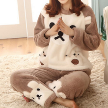 Hot Winter Women Cute Flannel Animal Pajama Sets Female Sleepwear Bear/Girl/Coral Fleece Pajama Sets(China)