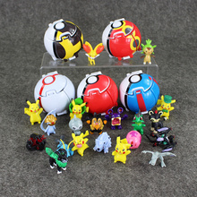 5pcs/lot 7cm Pop-up Throw Automatically Bounce ball + Assembled PVC figure go plus Toy