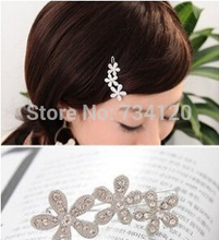 TS096 mix wholesale 2017 New Arrival Korea Rhinestone plum velvet with small hairpin sunflowers bow side clip hair accessories