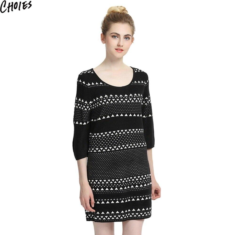 Women Black Contrast Chevron Pattern 3/4 Sleeve Knitted Mini Shift Dress 2017 New Autumn Round Neck Elegant Stretchable KnitwearÎäåæäà è àêñåññóàðû<br><br>