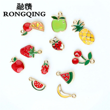 RONGQING 10pcs/lot wholesale Oil Drop Zinc Alloy Colourful Fruit charm pendant charms for jewelry making Floating Enamel DIY