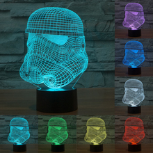 Creative 3D illusion Lamp LED Night Light Star War White Knight Acrylic Colorful Gradient Atmosphere Lamp Novelty Light IY803335(China)