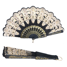 Ethnic Style Dance Party Wedding Golden Tone Hand Held Flower Folding Fan