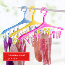 1PC Multifunction Windproof Plastic Cloth Hanger Drying Rack With Clothespins For Socks Underwear 360 Degrees Rotating 3 Colours