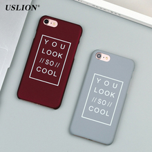Buy USLION Fashion Frosted Phone Case iPhone 7 5 5s SE 6 6s Plus Simple Letter Hard Plastic Back Cases Cover iphone 7Plus for $1.14 in AliExpress store