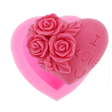 3D Silicone Soap Mold Heart Love Rose Flower Chocolate Mould Candle Polymer Clay Molds Crafts DIY Forms For Cheap Soap Base Tool