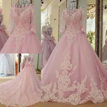 Pink Ball Gown Sexy Colorful Wedding Dresses With 3/4 Sleeves Beaded Lace Appliques Corset Back Non White Wedding Gowns Couture