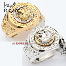 A1-R069 Italina Rigant Men Band Ring Men Ring Cool Lion Eagle Star 18mm Width 18KGP Jewelry Size 8-15