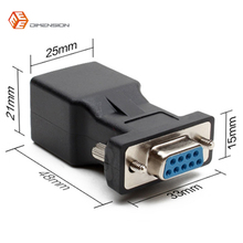 New Arrival DB9 RS232 Female to RJ45 Female Adapter COM Port to LAN Ethernet Port Converter