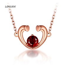 natural stones Natural semi-precious stones garnet original red crystal love heart pendant thin chain necklace women(China)