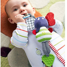1Pcs 2017 Hot new Christmas Music Elephant Lathe Rattles Hang Baby Kids Dolls Educational Toys Teether hanging bed hanging belt(China)