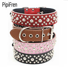 PipiFren Genuine leather Spiked Big Dogs Collars Accessories For Supplies Large Dog Necklace Leather Pets Collar collier chien(China)