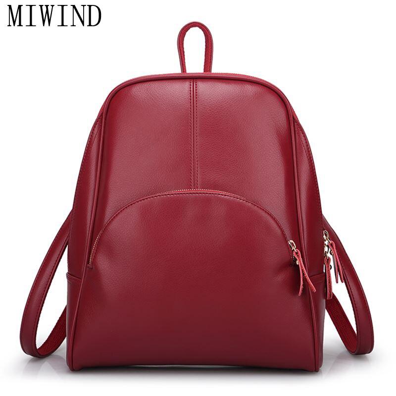 Casual Backpack Women Genuine Cow Leather Bag Student Backpack Ladies Feminina School Bag For Teenagers  THG311<br>