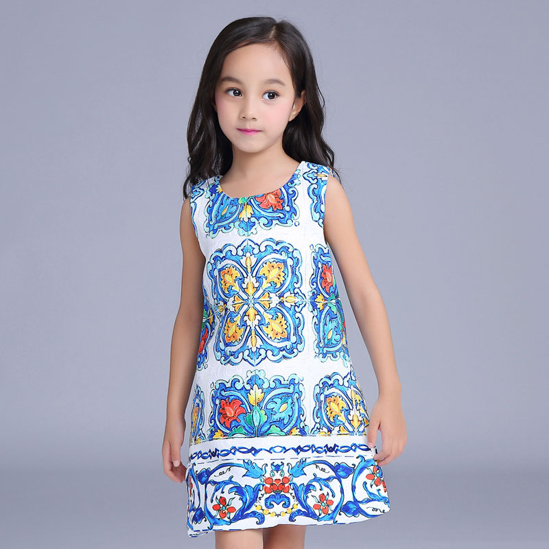 2016 New chinese style kids costume for girls 2-9T print pattern summer girls dresses fashion sleeveless straight girls<br>
