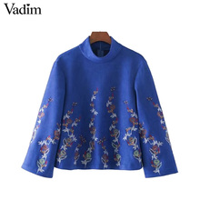 Vadim women floral embroidery velour warm shirts stand collar vintage blouse back zipper ladies autumn tops blusas mujer LT2211(China)