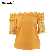 Missufe 2017 Yellow Hollow Out Flower Lace Summer Blouses Women Off The Shoulder Flare Sleeve Casual Tops Shirts Female Blusas(China)
