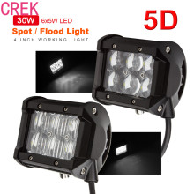 CREK 5 pcs Black 4 Inch 30W 2550LM 5D Waterproof LED Work Light Bar Driving Lamp For Vehicle 4WD ATV Off-road SUV