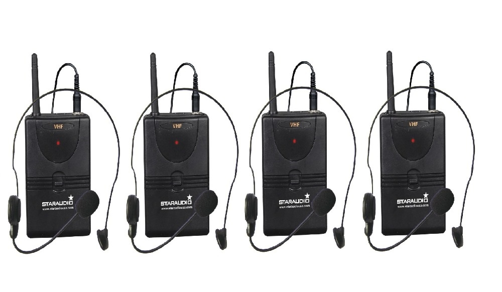 STARAUDIO SMV-4000B Professional DJ Stage Church Party VHF Wireless 4CH Lavalier Headset Microphone Mic System