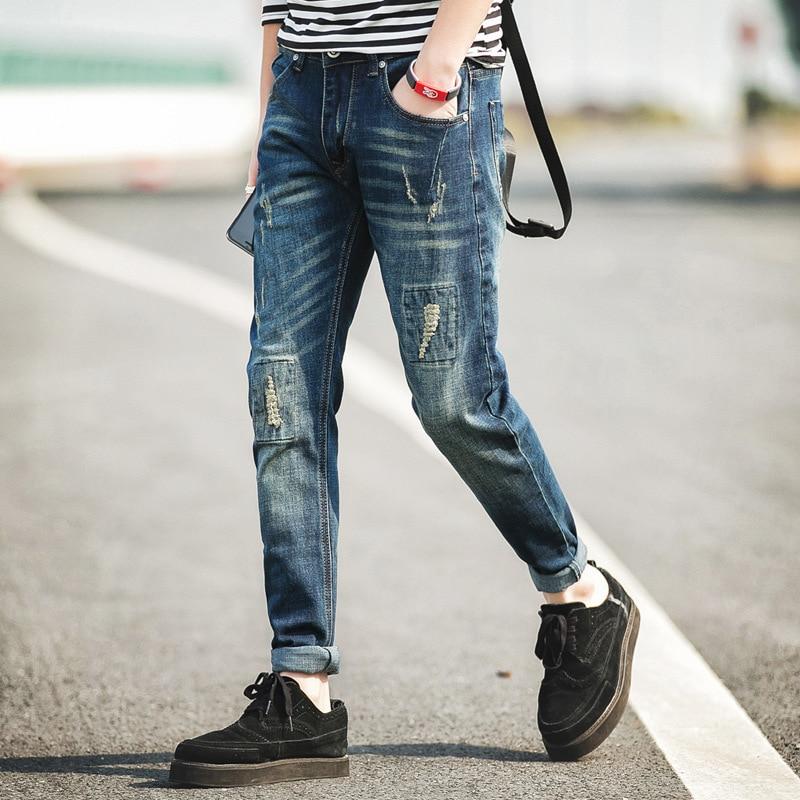 Streetwear Mens Ripped Biker Jeans homme Mens fashion Motorcycle Slim Fit Black White Blue Moto Denim Pants Joggers Skinny MenОдежда и ак�е��уары<br><br><br>Aliexpress