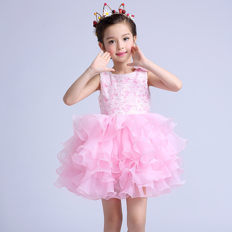 Dresses for girls Party Girlss Layered Dresses Children Pink Flower Girl Vestidos Fashion Kids Clothes For 6 8  10 12 14 Years <br>