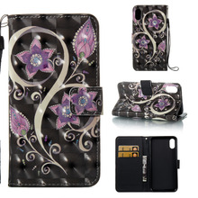 "Black Bauhinia Flower Design 3D Colorful Leather Wallet Flip Stand Pouch Case For Apple iPhone X iPhoneX 5.8"" Funda Coque Capa(China)"