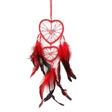 Red Dream Catcher Hanging with Feathers Home Wall Car Hanging Decoration Love Heart Dreamcathcer Ornament Gift(China)
