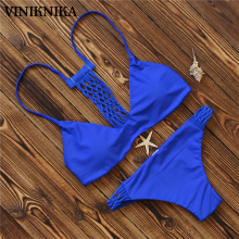 VINIKNIKA S-L New Bikini Suit Female Sexy Bikini Blue Swimsuit Nylon High Waist Swimsuit Woman NDL7103