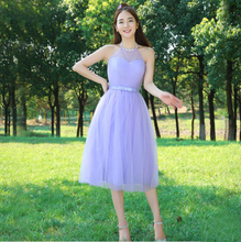 lavender bridsmaid short tea length dress high halter top bridesmaids formal tulle ball gown dresses girls with lace H3811