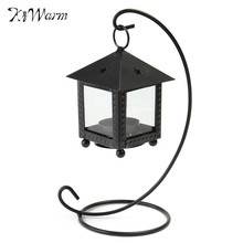 KiWarm Candle Holder Cottages Style Iron Candlestick Retro Ornaments Lamp Windproof Small Tealight Chandelier Wedding Gift(China)