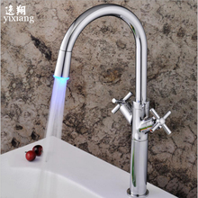 Free shipping basin crane bathroom Led stream light water Faucet  Deck Mounted Cold and Hot Water Mixer Handle water faucets