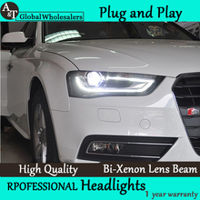 A&T Car Styling for Audi A4 Headlights High Configuration A4 B9 LED DRL Lens Double Beam H7 HID Xenon bi xenon lens