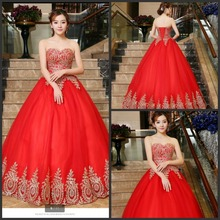 2017 latest style red ball gown wedding dress with golf lace elegant puffy princess bride gowns best selling new wedding dresses
