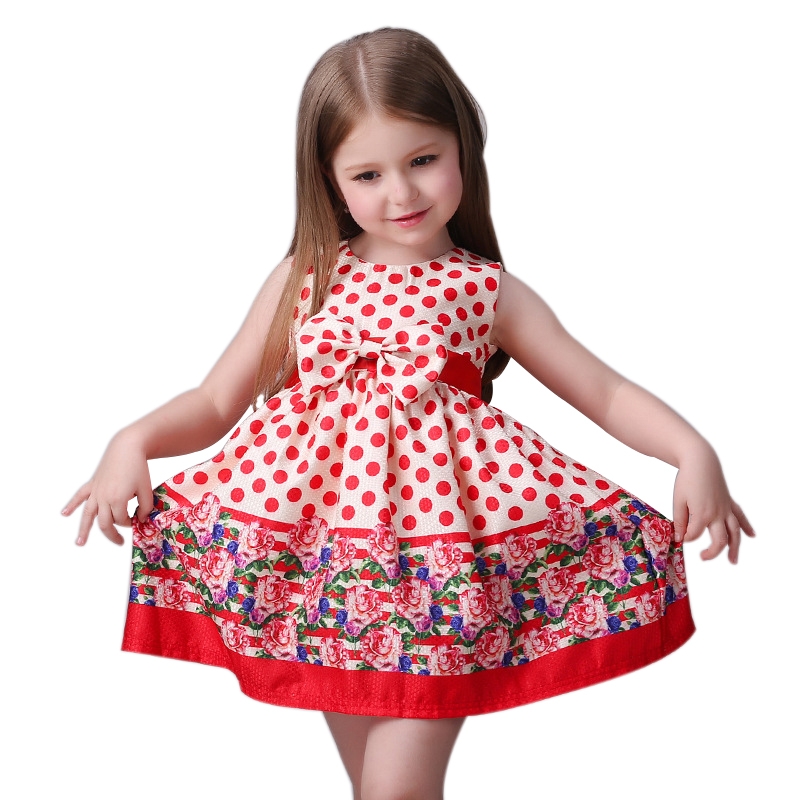 2017 new fashion Cute kids girls girl dress / red dress with round dot and bowknot dress<br><br>Aliexpress