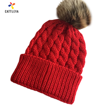 Women's Winter Hats 2017 Beanies Knitted Cap Crochet Hat Rabbit Fur Pompons Ear Protect Warm Plush Casual Cap Black/Red/Yellow