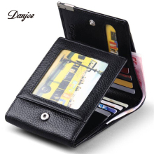DANJUE Genuine Cow Leather Men Wallet Fashion Coin Pocket Brand Trifold Design Men Purse High Quality Male Card ID Holder(China)