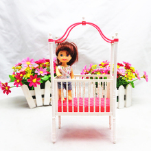 Hot Sale 1 Pcs Fashion Baby Infant Crib Bed for Barbies Accessories Cot Dollhouse Dolls Furniture Girls Christmas Gift