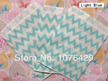 25 Pcs Light Blue Chevron Striped Treat Craft Bags Favor Food Paper Bags Party Wedding Birthday Decoration Color 9