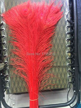 "New! Free shipping wholesale 100 pcs / lot high-quality red peacock feathers, 75-80cm / 30-32 ""DIY jewelry decoration"