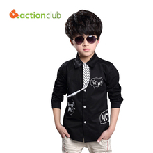 Multicolor 2016 New Arrival boys casual blouse long sleeve boys shirt with necktie children fashion blouse kids clothing KU577(China)