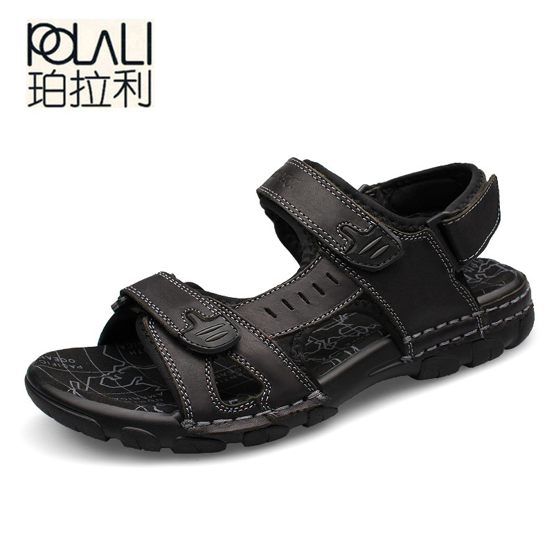 POLALI Brand Fashion Men Beach Sandals, High Quality Summer Leather Men Sandals Outdoor Men Shoes Black Light big size 39-46