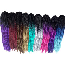 Pervado Hair 12strands Synthetic Mambo Twist Crochet Hair Extensions 56CM 120G Bouncy Purple Pink 3Tone Ombre Braiding Hair(China)
